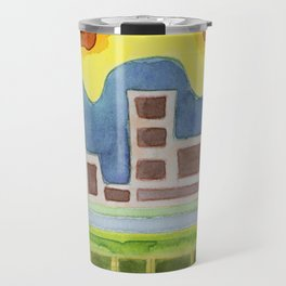 Surreal Simplified Cityscape Travel Mug