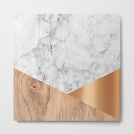 White Marble Wood & Rose Gold #761 Metal Print