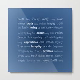 Fun With Colour & Words - Blue Metal Print