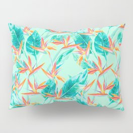 Birds Of Paradise Mint Pillow Sham