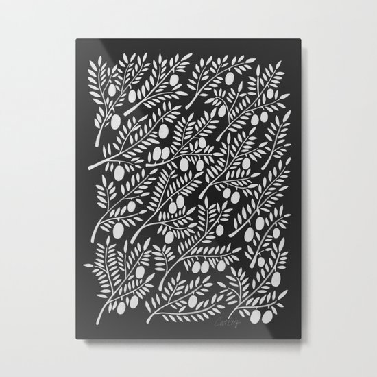 White Olive Branches Metal Print