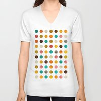polka dot V-neck T-shirts featuring Autumnal polka dot by cafelab