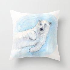 Polar bear underwater Throw Pillow