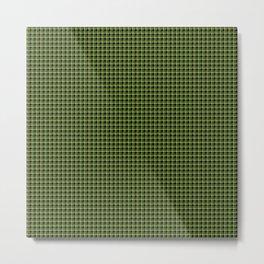 Green Plaid Black Background Metal Print