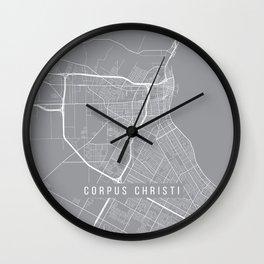 Corpus Christi Map, Texas USA - Pewter Wall Clock