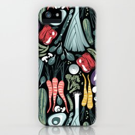 Go veggie // black background sage green mint goldenrod yellow coral and purple beet vegetables iPhone Case