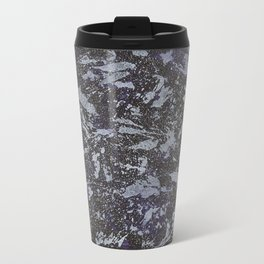 Black and White Ink on Purple Background Metal Travel Mug