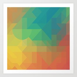 Geometric Geometry Gradient Blue Green Orange Yellow Pattern Art Print