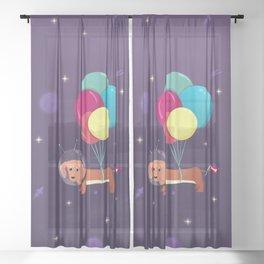 Galaxy Dog with balloons Sheer Curtain