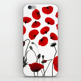 Modern Black and Red Flowers and Petals iPhone Skin