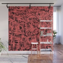 Unusual doodle in gentle colors with a royal red tint. Wall Mural