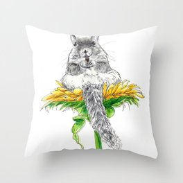 Squirrel on a Flower watercolor Throw Pillow