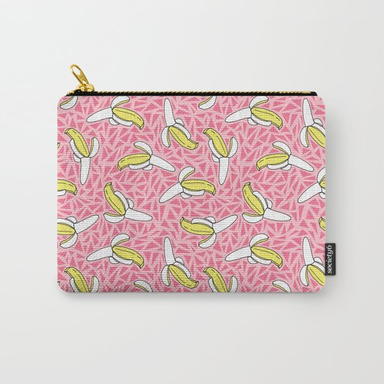 Low Down - banana memphis retro throwback vintage geometric neon pop art fruit summer spring  Carry-All Pouch