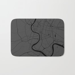 Bangkok Thailand Minimal Street Map - Gray and Black Bath Mat