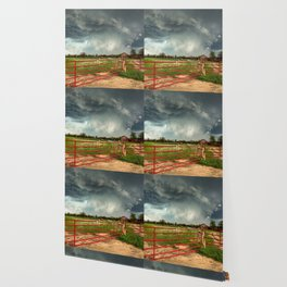 The Red Gates - Storm Passes By Farm in Kansas Wallpaper