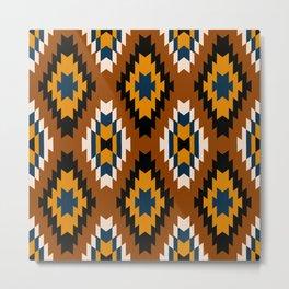 Brown yellow and white geometric tribal pattern Metal Print
