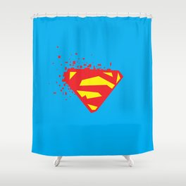 Square Heroes - man of steel Shower Curtain