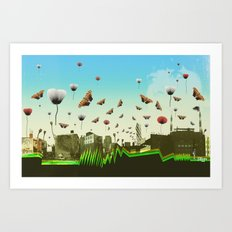 butterfly invasion with poppies Art Print