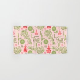 Pink and Green Chinoiserie Hand & Bath Towel