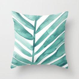 Green Palm Leaf Crop Throw Pillow