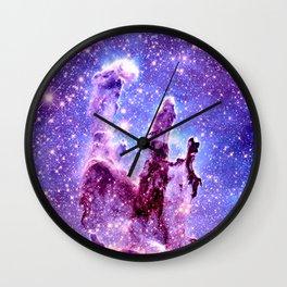 Galaxy Nebula : Pillars of creation Wall Clock