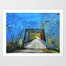 Old wooden bridge  Art Print