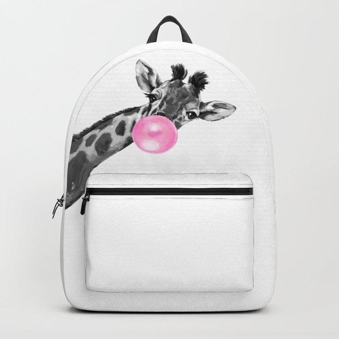 Bubble Gum Black and White Sneaky Giraffee Rucksack