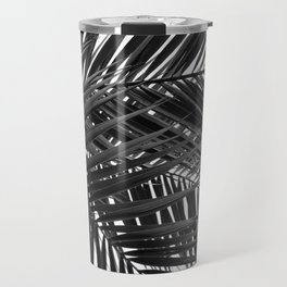 Tropical Palm Leaves - Black and White Nature Photography Travel Mug
