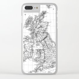 Vintage Map of The British Isles (1864) BW Clear iPhone Case