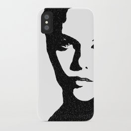 WOMAN'S FACE INK DRAWING, VANESSA PARADIS PORTRAIT iPhone Case