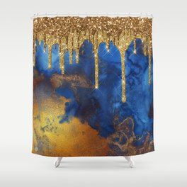 Gold Rain on Indigo Marble Shower Curtain