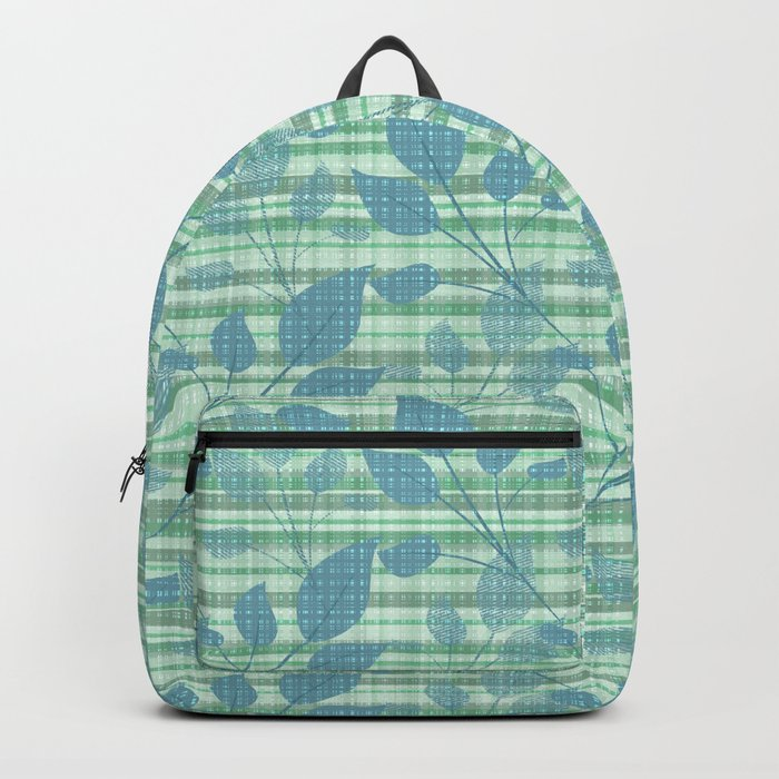 Stylized branches on light green checkered background. Backpack