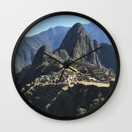 Macchu Picchu on a clear day Wall Clock