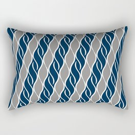 Gray and Blue Stripes Rectangular Pillow