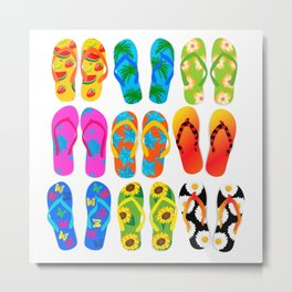 Sandals Colorful Fun Beach Theme Summer Metal Print