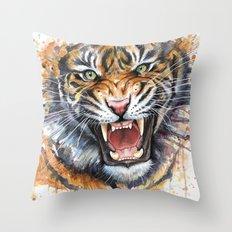 Tiger Roaring Wild Jungle Animal Throw Pillow