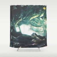 trout Shower Curtains featuring Yinzer Trout by Mt Zion Press