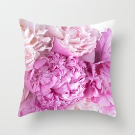 Pink Peonies Shabby Chic Cottage Peonies Throw Pillow