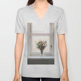 Flowers in a window Unisex V-Neck