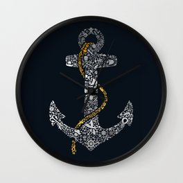 Anchor in Gold and Silver Wall Clock