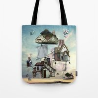 house Tote Bags featuring house by Кaterina Кalinich