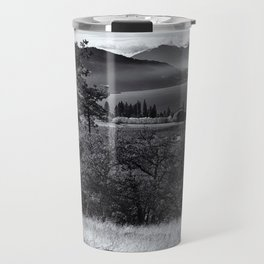 Scenic Columbia River Gorge in Black and White Travel Mug