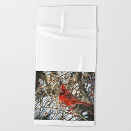 Winter Cardinal by Teresa Thompson Beach Towel