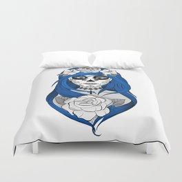 Santa Muerte Blue Duvet Cover
