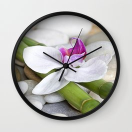 white Orchid flower  and green Bamboo still life Wall Clock
