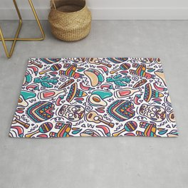 cinco de mayo mexican doodle seamless pattern Rug