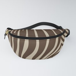 Zebra Stripes | Animal Print | Chocolate Brown and Beige | Fanny Pack