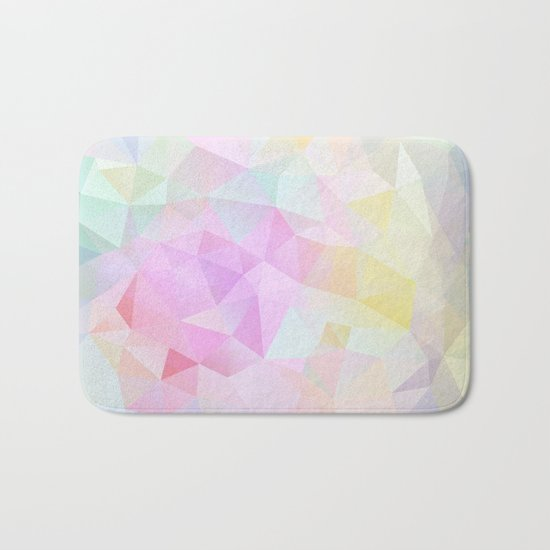 Abstract print of triangles, polygon in pastel colors Bath Mat