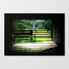 Looking through a cattle Shed Canvas Print