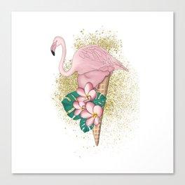 Flamingo Ice Cream With Gold Canvas Print